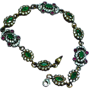 Gemstones Stunning Sterling Silver Brass Moghul Simulated Diamond, Ruby, and Emerald Bracelet