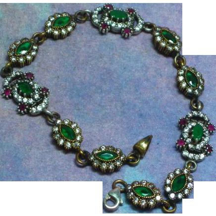 Gemstones Stunning Sterling Silver Brass Moghul Simulated Diamond, Ruby, and Emerald Bracelet