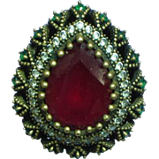 Ottoman Style Turkish  Sterling Vermeil Rubies Simulated Diamonds Ring