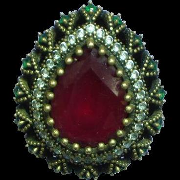 Ottoman Style Turkish  Sterling Vermeil Rubies Simulated Diamonds Ring