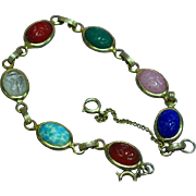 Vintage Gold toned Extra Long Semi-Precious Stone Scarab Bracelet