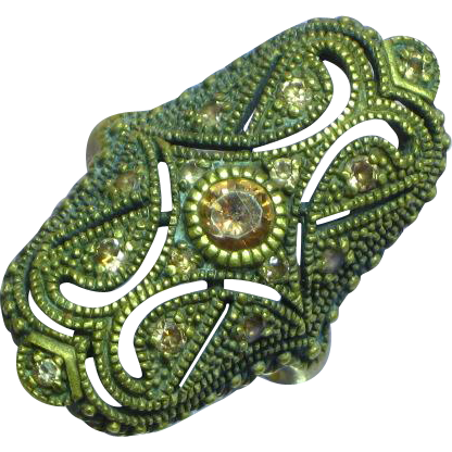 Gorgeous Large Brass Topaz Citrine Rhinestones Long Ring