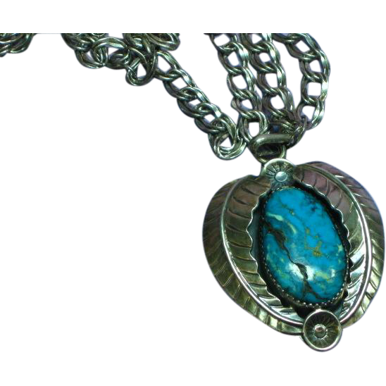 Vintage Native American Indian Sterling Silver Large Turquoise Pendant Necklace