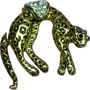 Fabulous Hanging Leopard Rhinestones w/ Articulated Tail Pin Brooch