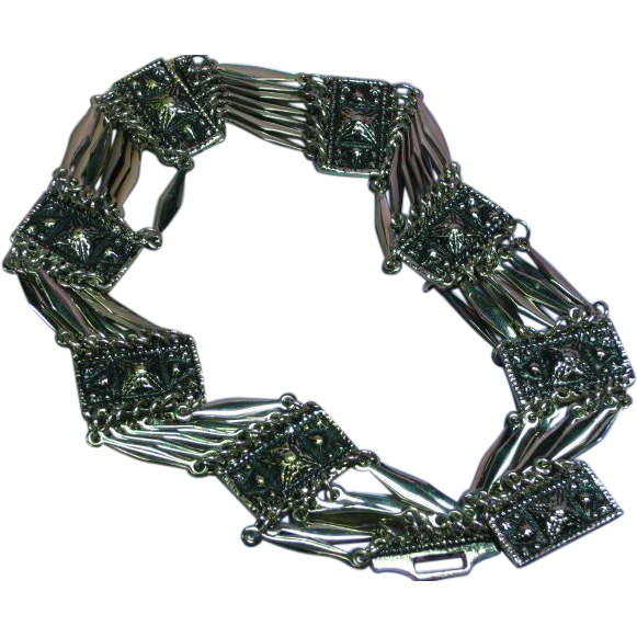 Mexican Mexico Panel Choker Signed Silver Taxco Mexico Boho Bohemian Chic C1940s Necklace