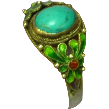 Exquisite Chinese Export Cloisonne Enamel Persian Turquoise Sterling Silver Ring