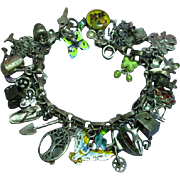 Gertrude's Garden-2 Gardening Themed Loaded Sterling Silver Charm Bracelet