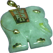 Fabulous Beautiful Carved Mint Green Jade 14k Yellow Gold Elephant Pendant