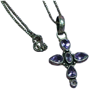 Sterling Silver Genuine Amethyst Pendant Cross Necklace