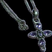 Sterling Silver Genuine Amethyst Pendant Cross Necklace