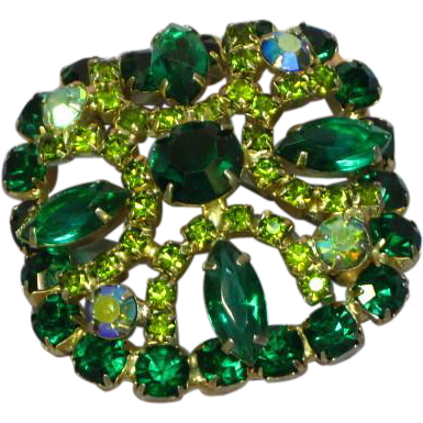 Gorgeous Rhinestones Green Vitrail Peridot Large Layered Brooch Pin