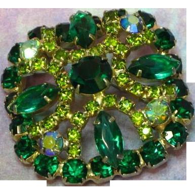 Gorgeous Rhinestones Green Vitrail Peridot Large Layered Brooch Pin