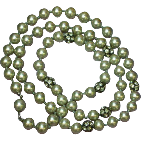 "Pearls Glass Grey Hand Knotted Rhinestones Rondell 25"" Great Mix Necklace"