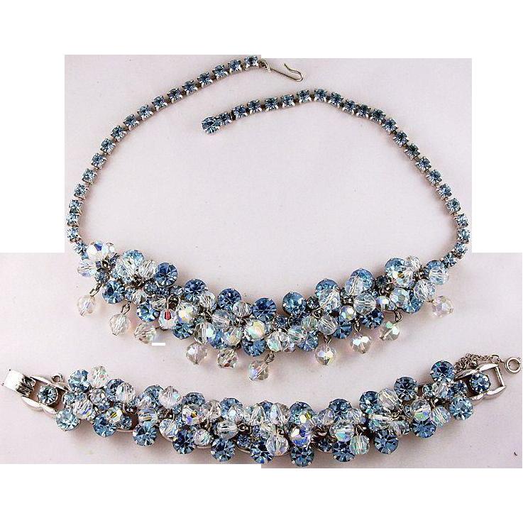 Juliana D&E Vibrant Blue Dangle Silver Rhodium Plate Necklace and Bracelet Demi Parure