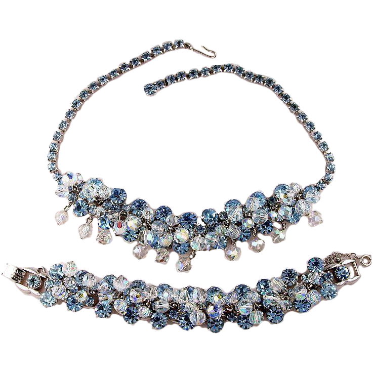 Juliana D&E Vibrant Blue Dangle Silver Rhodium Plate Necklace and Bracelet Demi Parure