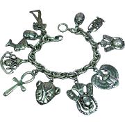 Sterling Silver English  Egyptian Motif Charm Bracelet