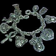 Sterling Silver English  Egyptian Motif Charm Bracelet