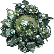 Original by Robert Signed Faux Pearl Clear Rhinestones Large Floral Cluster Layered Pin Brooch