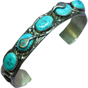 Native American Zuni Signed EFFIE C. Turquoise Sterling Silver Marked Cuff Bracelet