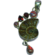 Ammonite Fossil Fire Opal Garnet Gemstone Sterling Silver Necklace Pendant
