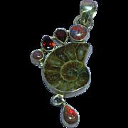 Ammonite Fossil Fire Opal Garnet Gemstone Sterling Silver Necklace Pendant
