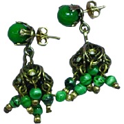 Victorian Revival 12K Gold Filled Delicate Green Beads Seed Pearls  Dangle Pierced Earrings
