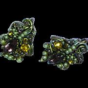 Hollycraft 1954 Antiqued Gold Tone Screwback Earrings
