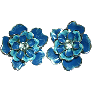 Coro  Signed Enameled Flower Rhinestone Clip Earrings