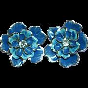 Coro  Signed Enameled Flower Rhinestone Clip Earrings
