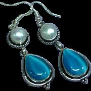 Sterling Silver Blue Cat Eye Moonglow Glass Stones Mabe Pearl Pierced Earrings