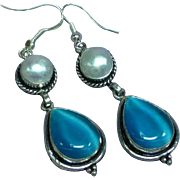 Sterling Silver Blue Cat Eye Moonglow Glass Stones Mabe Pearl Pierced Earrings