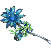 Enamel Large Metal Rhinestones Flower Power Brooch Pin