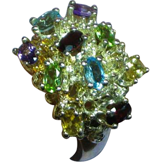 Magnificent Sterling Silver Large Multi Color Topaz and Gemstone Ring