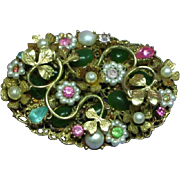 Coro Marked Floral Rhinestones Seed Pearl Layered Large Intricate Brooch Pin