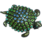 Weiss Marked Very Rare Rhinestones Blue Green Turtle Pin Brooch