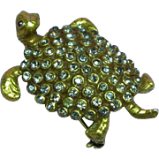 Weiss Unmarked Very Rare Black Diamond Rhinestones Figural Tortoise Turtle Pin Brooch