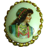 Limoges French Hand Painted Gypsy Portrait Gold Plate Pin Brooch