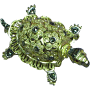Alice Caviness Sterling Germany Rhinestones Marcasite Figural Turtle Pin Brooch