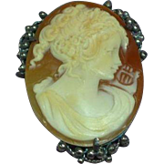 Cameo Carved Signed Sterling Silver Filigree Shell Cameo Brooch Pin