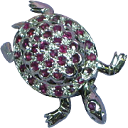 Gemstones Sterling Silver Articulated Turtle Pin Pendant Rubies Fine Jewelry Brooch