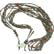 Native American Indian Six Strand Heshi Coral Sterling Silver Necklace