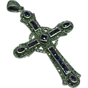Sterling Silver Amethyst Gemstones Marcasite Cross Large Necklace Pendant
