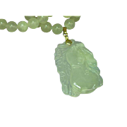 Rare Vintage Chinese Green Translucent Carved Nephrite Jade Pendant and Beads Necklace