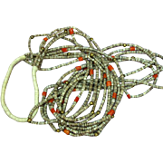 Native American Indian Five Strand Heshi Coral Squaw Wrap Necklace