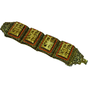 Large Vintage Chinese Carved Bone Coral Gold Washed Silver Gilt Cannetille Filigree Panel Bracelet
