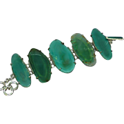 Gemstones Stunning Greens Bold Sterling Silver Wide Link Bracelet