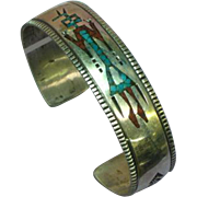 Native American Indian Sterling Silver Crushed Turquoise & Coral Inlay Cuff Bracelet