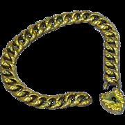 Antique Victorian Gold Filled Bracelet Gold Filled Heart Lock, and Key Bracelet