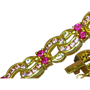 Vintage Sterling Vermeil Multi-Color Pink Gemstone Tennis Bracelet