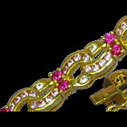 Vintage Sterling Vermeil Multi-Color Pink Gemstone Tennis Bracelet